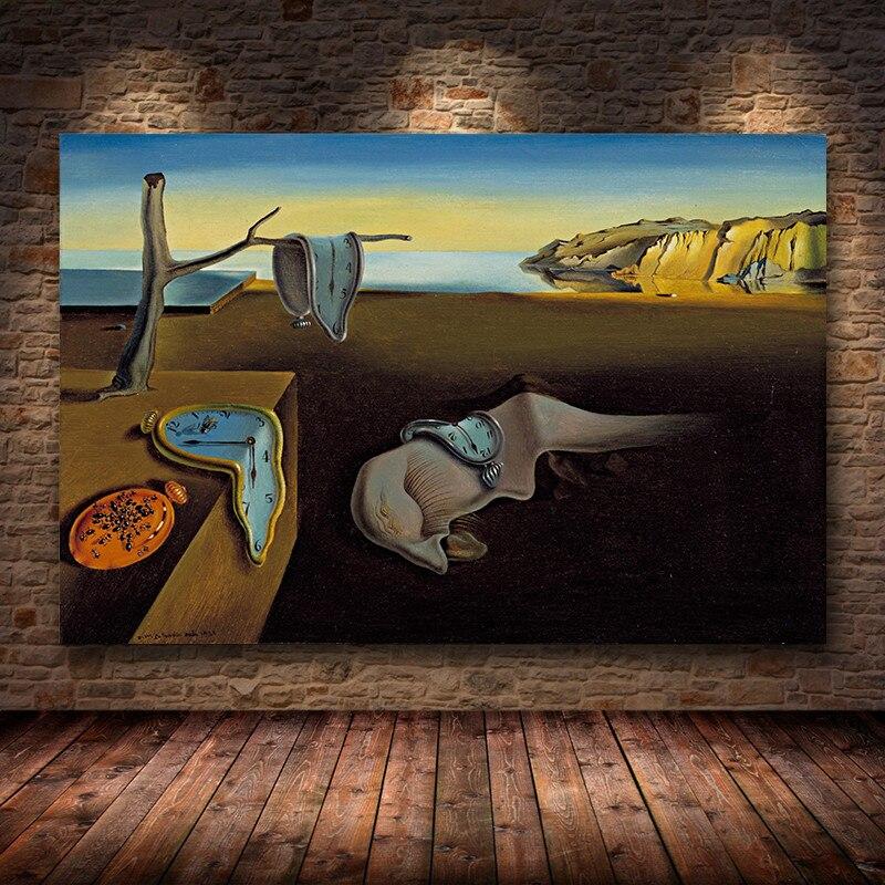 Salvador Dali kalıcı bellek saatler gerçeküstü yağlıboya tuval Poster baskı Cuadros duvar sanat resmi oturma odası için