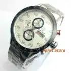 44 мм PAGANI Дизайн Полный Хронограф белый циферблат черный ободок OS движение Дата Спорт кварцевый механизм Мужские часы pgn4