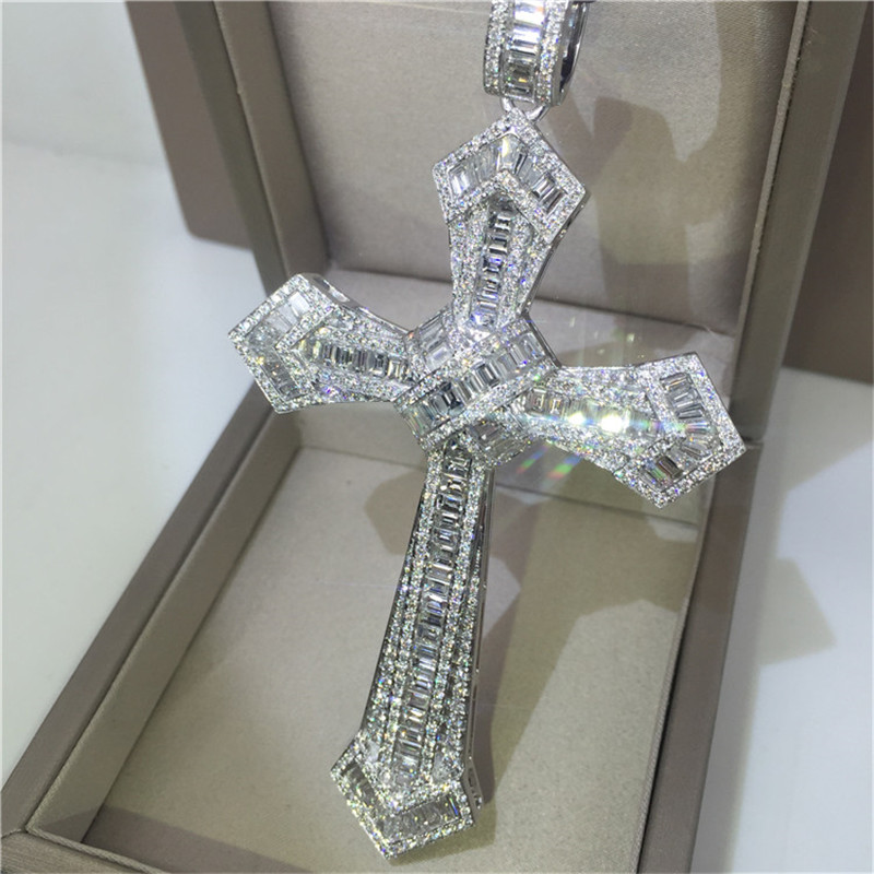 14K Gold Long Diamond Cross Pendant 925 Sterling Silver Party Wedding Pendants Necklace For Women Men Moissanite Jewelry Gift