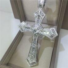 Colgante de Cruz de diamante largo de oro de 14K para mujer y hombre, colgante para fiesta de Plata de Ley 925, collar para boda, regalo de joyería de moissanita