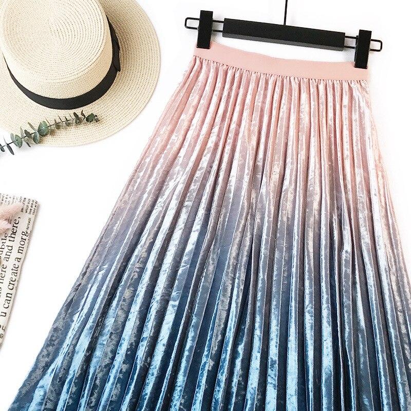 Gradient Velvet Pleated Skirt 10