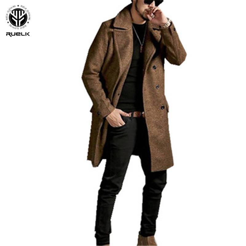 RUELK Men's Autumn And Winter 2020 Mid-Length Business Style Trench Coat Classic Solid Color Printing Thick Double-Breasted Men