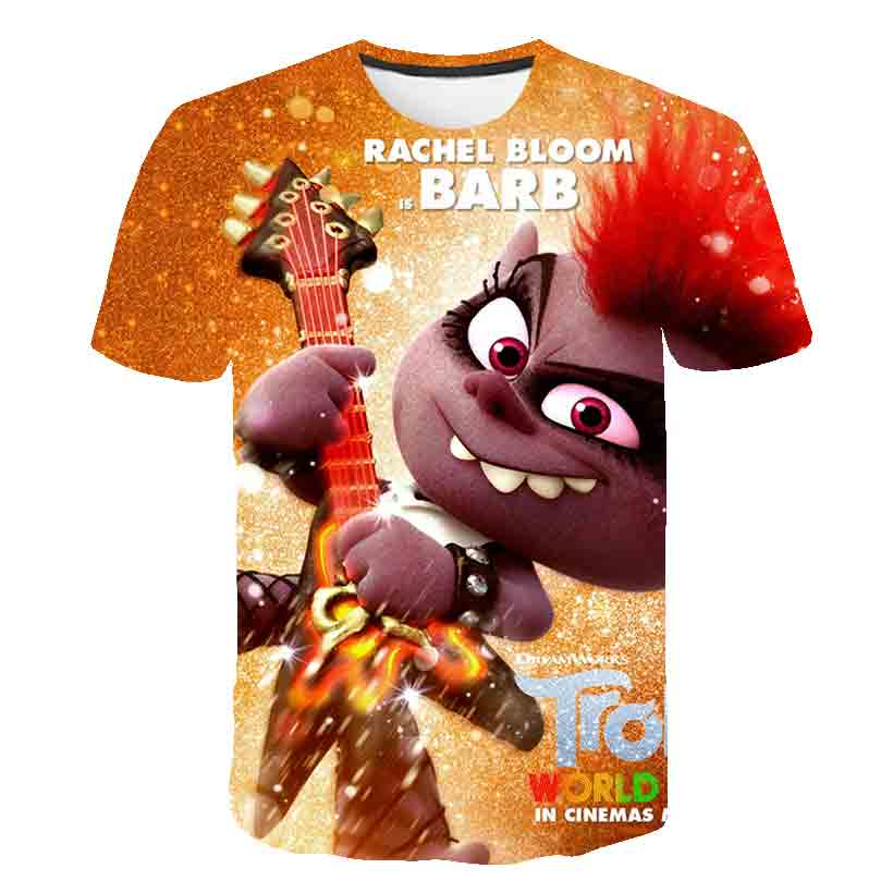 3D Boys Troll T-shirt Kids TROLLS WORLD TOUR Print Funny T-shirts  Children Summer Clothing Clothes Hairy Elf Baby T Shirt Tops