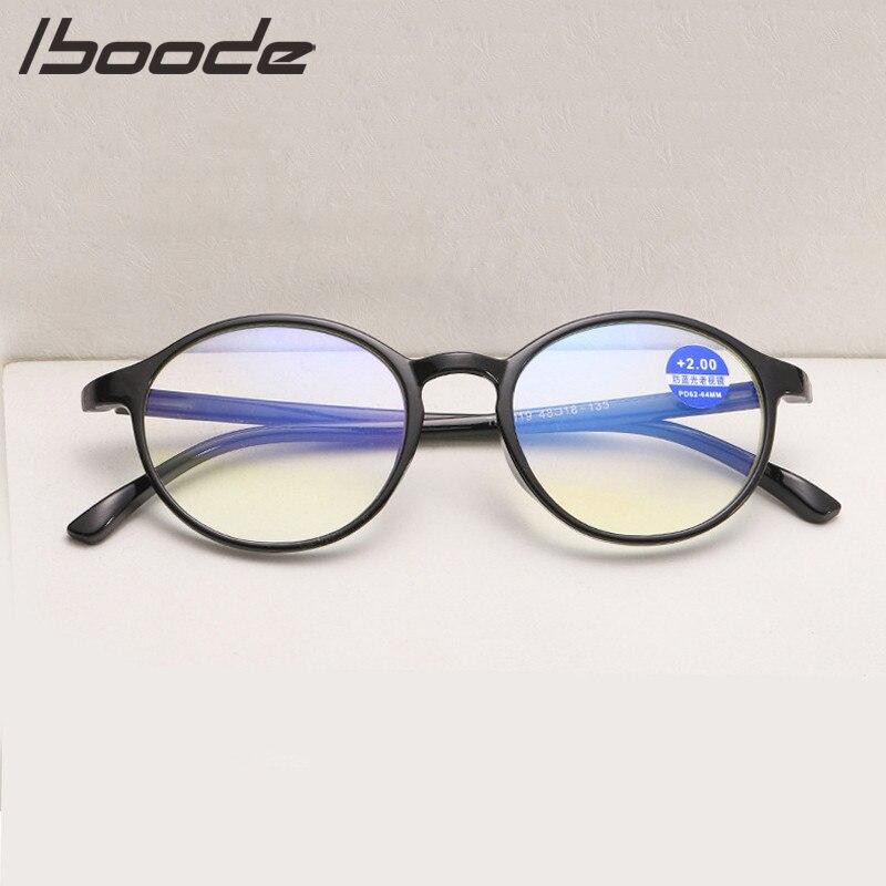 IBOODE Round Reading Glasses Women Men Anti Blue Light Presbyopic Eyeglasses Female Male TR90 Hyperopia Eyewear Spectacles