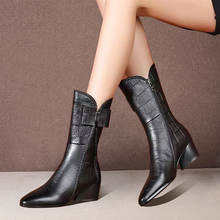 Осенне зимние женские ботинки до середины икры универсальные