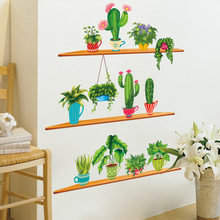 Nordic Style Art Wall Stickers Cactus Plant Plotted Bonsai Wall Decals Living Room Home Decoration Garden Green Stickers Decor()