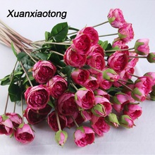 Get more info on the Xuanxiaotong 5 Head Red Artificial Rose Bloom Silk Flower flores with Leaves Buds for Wedding Festive Party Home Decoration
