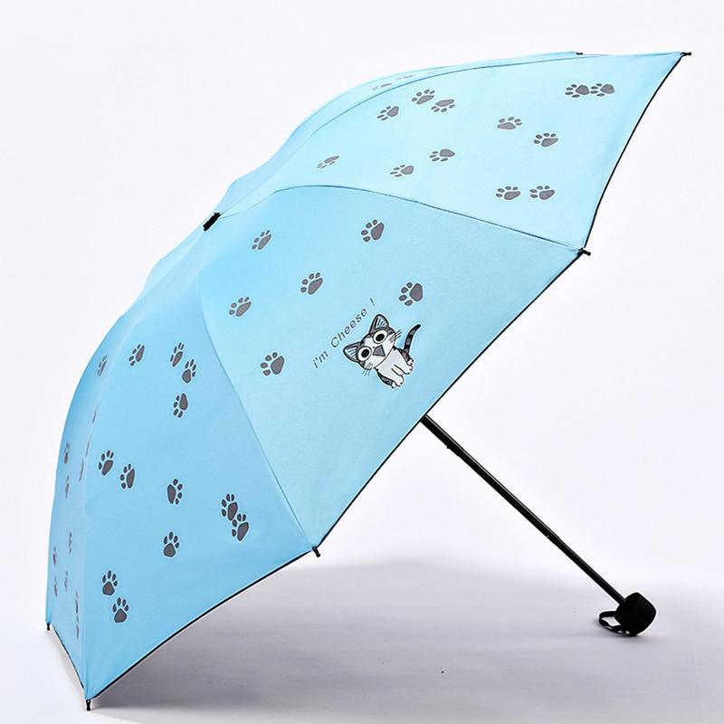 Cartoon Cute Cat Creative Children Sunscreen Umbrella Black Coating Small Fresh Cat Claw Umbrella Fold Parasol kids umbrella|Umbrellas| |  - title=