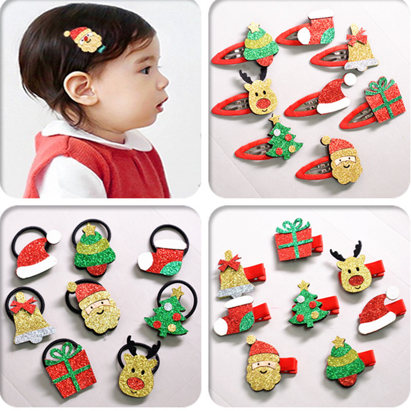 8pcs/lot Christmas Hair Clip Set For Baby Hairpins Hair Bands Kids Barrettes Headwear Hair Accessories Christmas Ornament Gift
