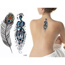 Peacock Waterproof Tattoo Stickers Feather Temporary Tatoo Body Art Arm Back Hand Girl Men Women Fake Tattoos Flash Tatto(China)