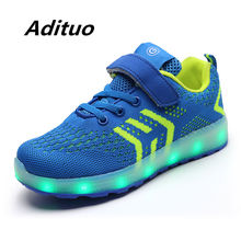 New Fashion Blue Children USB Charging Glowing Sneakers for Boy/girl Breathable