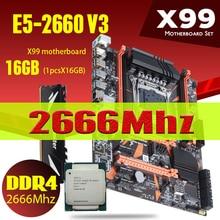 Atermiter X99 anakart CPU işlemci RAM seti Xeon E5 2660 V3 1*16GB = 16GB isı lavabo 2666MHz REG ECC DDR4 bellek PC4