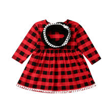 1-4 Years 2PCS Toddler Baby Girl Red Plaids Christmas Dress Princess Party Tutu Dresses Long Sleeve O Neck Dress For Girls(China)