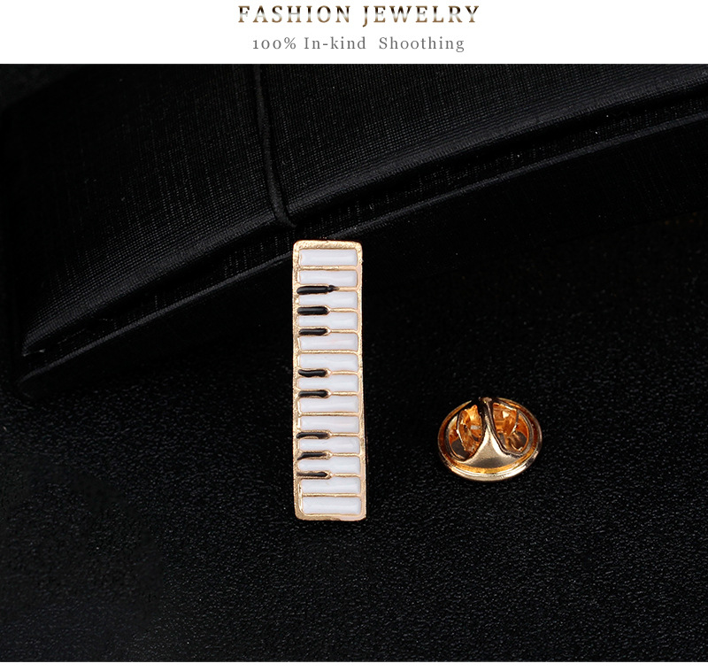 Musical Instruments Set: Violin Keyboard Treble Clef Brooches Enamel Pins 12