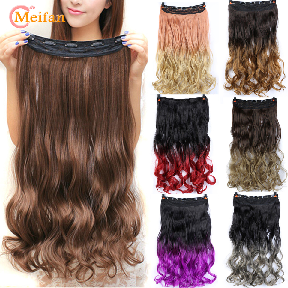 MEIFAN 60cm Long Wave Curly Ombre Nature Hairpieces Clip In Hair Extensions Black Pink High Tempreture Synthetic Hair Piece