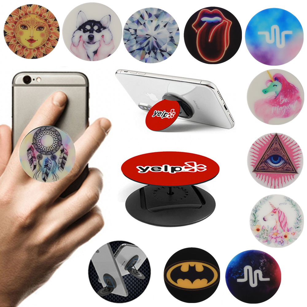 Universal Mobile Phone Socket Flip Finger Ring Phone Holder Round Desk Stand Rope Bracket For IPhone Xiaomi Huawei Phone Holders