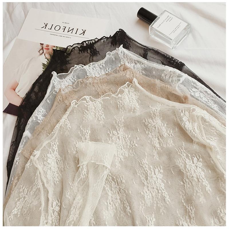 Sweet Lolita Laceshirt Lace O-neck Long Sleeve Inside Victorian Top Kawaii Girl Gothic Lolita Top Loli Cos