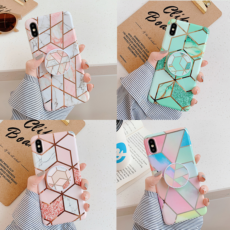SUYACS Vintage Electroplated Marble Phone Case For Samsung S10e S8 S9Plus For Huawei P20 P30Pro Lite Mate20 Stand Soft IMD Cover