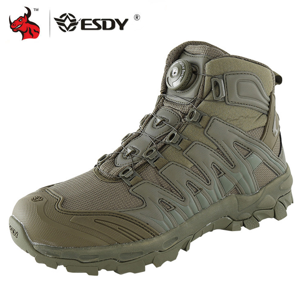 ESDY Motorcycle Boots Men Desert Tactical Military Boots Work Safty Shoes Special Force Army Boot Lace Up Combat Ankle Boots