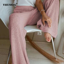 2021 Весенняя женская ребристая трикотажная пижама со штанами леди повседневные летние брюки с высокой талией, модные детские свободные мягк...