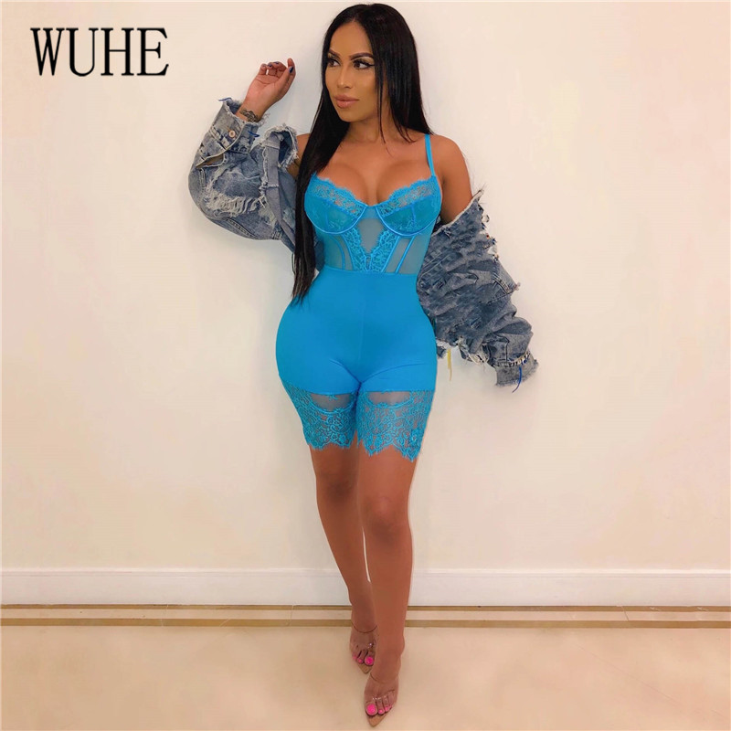 Ha7a8832edbb344349579154f2863b73b3 - WUHE Lace Patchwork Sexy Spaghetti Strap Jumpsuits Women Off Shoulder Sleeveless Elegant Bodycon Bandage Party Short Playsuits
