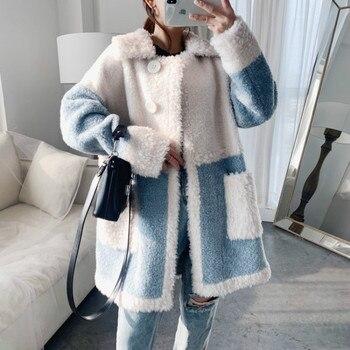 Abrigo de piel auténtica coreana para Mujer, ropa de Mujer, chaqueta de...
