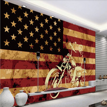 Retro Hand Painted American Flag Motorcycle Background Mural Wallpaper for Cafe Restaurant Bar Indus