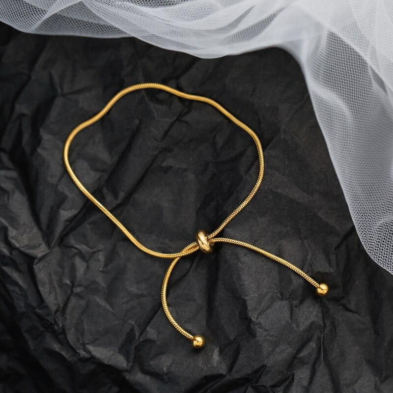 Timeless Wonder Titanium Snake Chain Lariat Bracelets Bangles Women Stainless Steel Jewelry Punk Gothic Boho Ins Versatile 1623