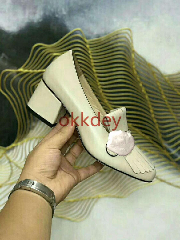 Cuir 2020 or talon mocassins Style pompe femmes bout pointu talons épais élégant dames chaussures peu profonde femme métal boucle pompes - 6