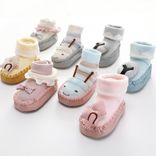 Sock Shoes Rubber Newborn-Baby Baby-Girl Winter Toddler with Infant Animal Terry Thick