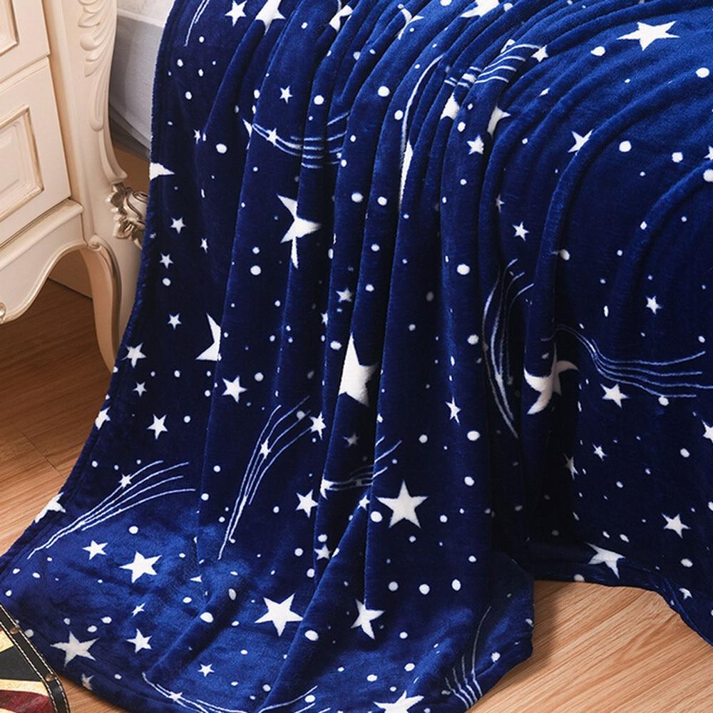 High Quality Blanket Super Fleece Soft Warm Solid Warm Micro Plush Flannel Star Blanket Throw Rug Sofa Bedding Bedspread Winter-4