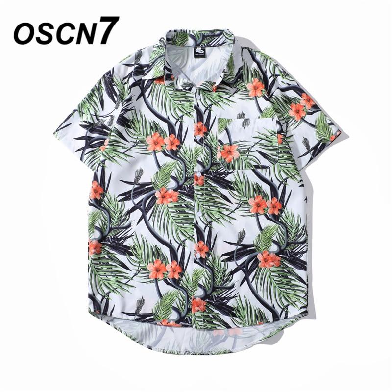 OSCN7 Casual Cloud Printed Short Sleeve Shirt Men Street 2020 Hawaii Beach Oversize Women Fashion Harujuku Shirts For Men 2022