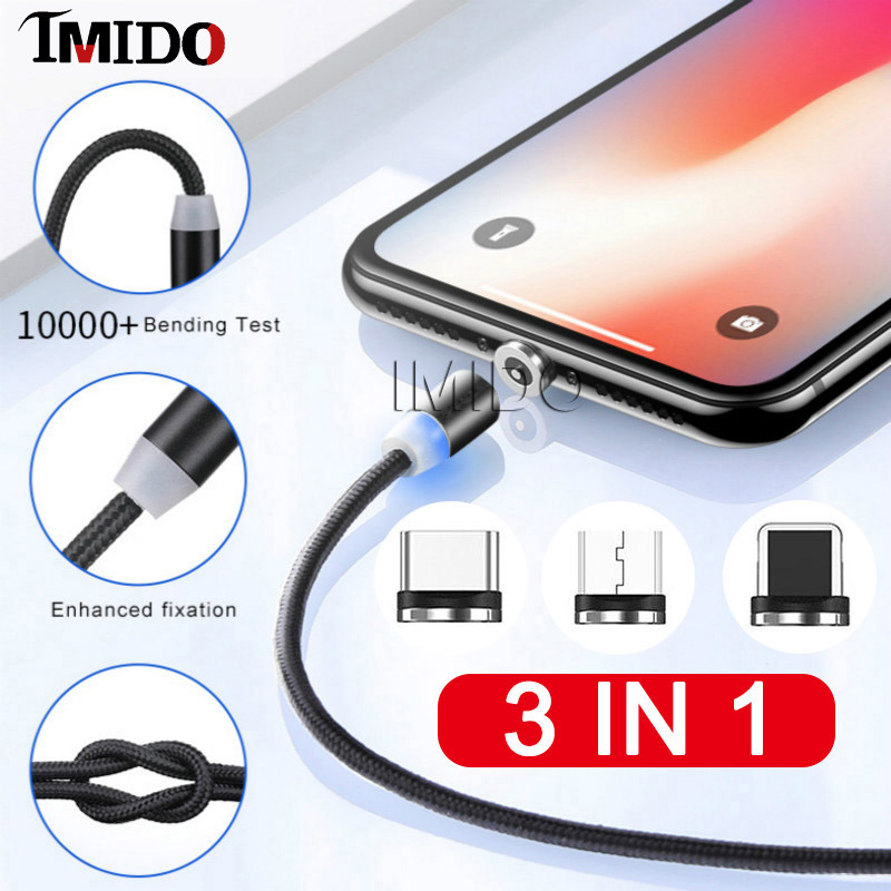 3in1 Magnetic Micro USB Cable line For Android Quick Charging Type C Magnet Charger Data Line IPhone