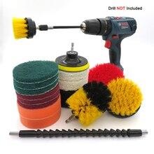 Matkap fırça seti ek seti güç sünger temizleyici araba için, deri ahşap, banyo, lavabo, mutfak ve otomobil (19 adet)