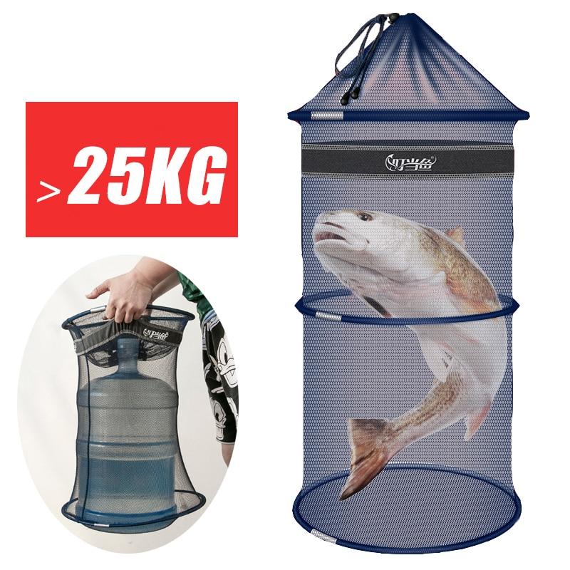 Portable Fishing Bucket  Quick Dry Small Mesh Storage Bag Beach Combing Crab Lobster Anti-jump Net Pocket Fish Shrimp Basket