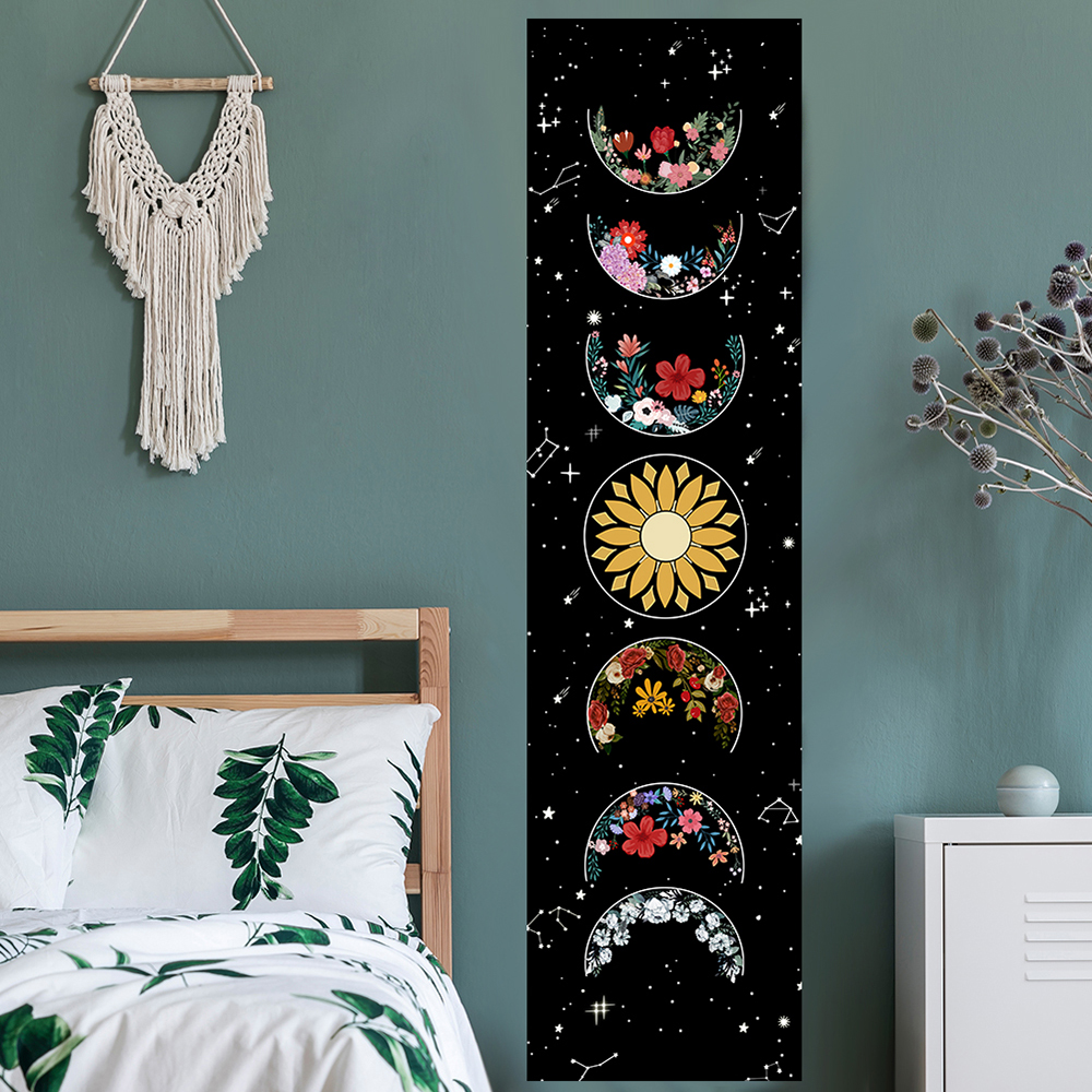 Moon Phase Tapestry Wall Hanging Flowers Moon Black and White Wall Art Tapestry for Bedroom Living Room Drom Home Decor