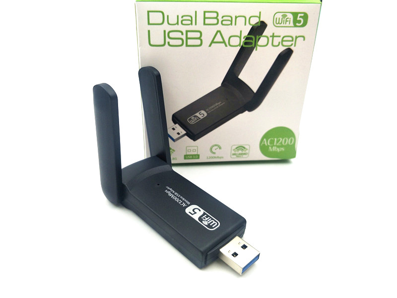 NEW 3.0  2.4G 5.8GHz Realtek Dual Band 1200Mbps Wireless USB WiFi Network Adapter Antenna For Desktop PC