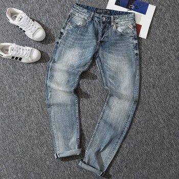 Italian Designer Fashion Men Jeans Light Blue Slim Fit Classical Denim Pants Designer Jeans Men High Quality Designer Jeans Men fashion designer men jeans blue 100