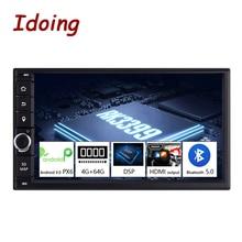 "Idoing 2 דין 7 ""PX6 4G + 64G Hexa Core אנדרואיד 9.0 Bluetooth 5.0 HDMI USB אוניברסלי רכב GPS Navi DSP רדיו מולטימדיה נגן לא dvd"
