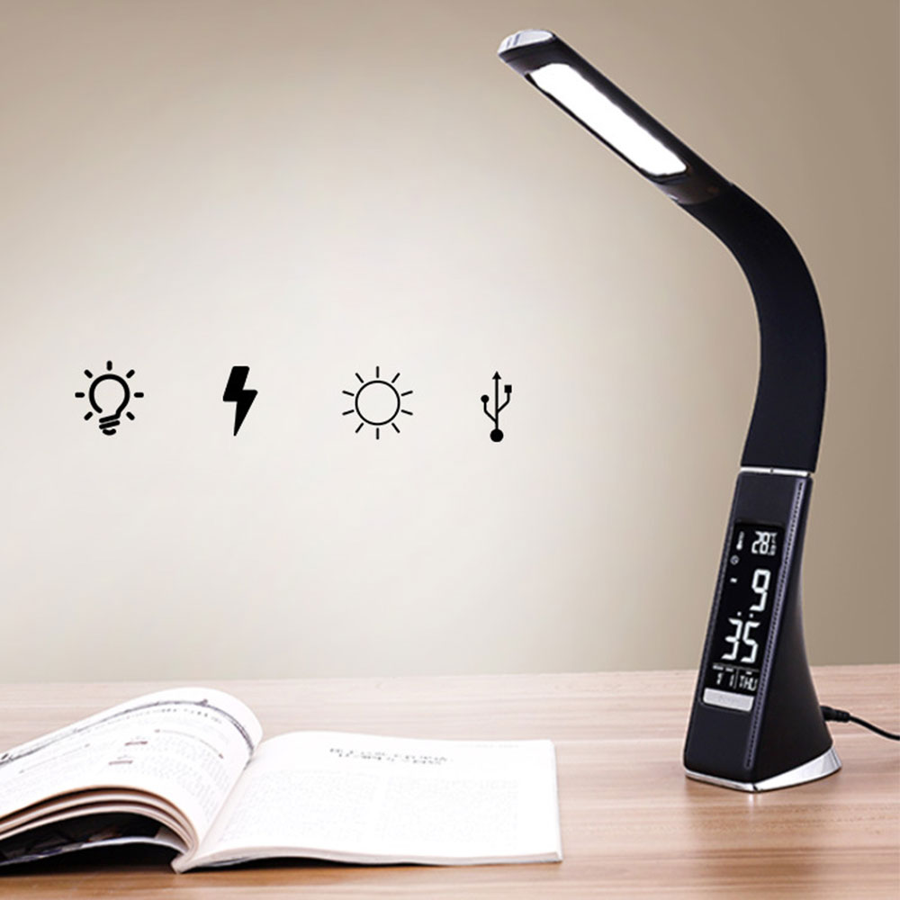 LED Desk Lamp Adjustible LCD Display Touch Lamp Table Light Night Lights With Calendar Temperature Alarm Clock