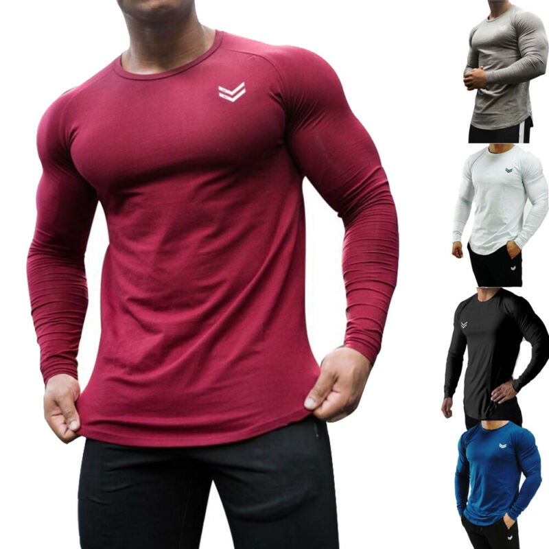 Men Slim Fit Long Sleeve Muscle Tee Gym Workout Shirt Bodybuilding Tops Blouse 2019