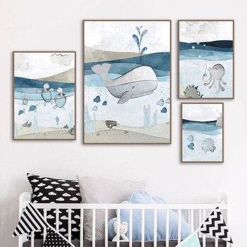Синий морской Кит черепаха Осьминог стены Искусство Холст Живопись Мультфильм плакаты на скандинавскую тему и принты настенные картины Де...