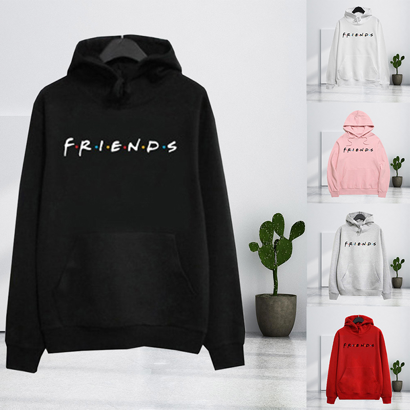 Friends Harajuku Hoodies Letter Print Pullover Pattern Print Hooed Sweatshirt Women Pocket Polyester Tops