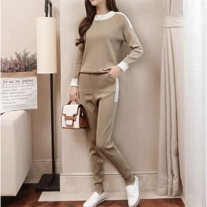 Image 1 - CBAFU סתיו חורף נשים אימונית ארוך שרוול סוודר מכנסיים חליפת סרוג מכנסיים חליפת סריגה נשים של סט אלסטי מותניים P397