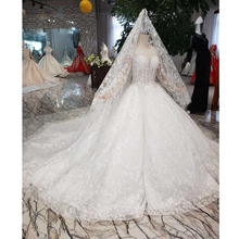 BGW HT565 Ball Gown Like White Wedding Dresses With Wedding Veil Illusion O neck Wedding Gown With Train 2020 New Fashion Design