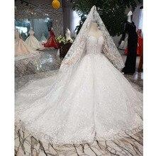 Bgw HT565 Baljurk Zoals Wit Trouwjurken Met Bruiloft Sluier Illusion O hals Wedding Gown Met Trein 2020 New Fashion ontwerp