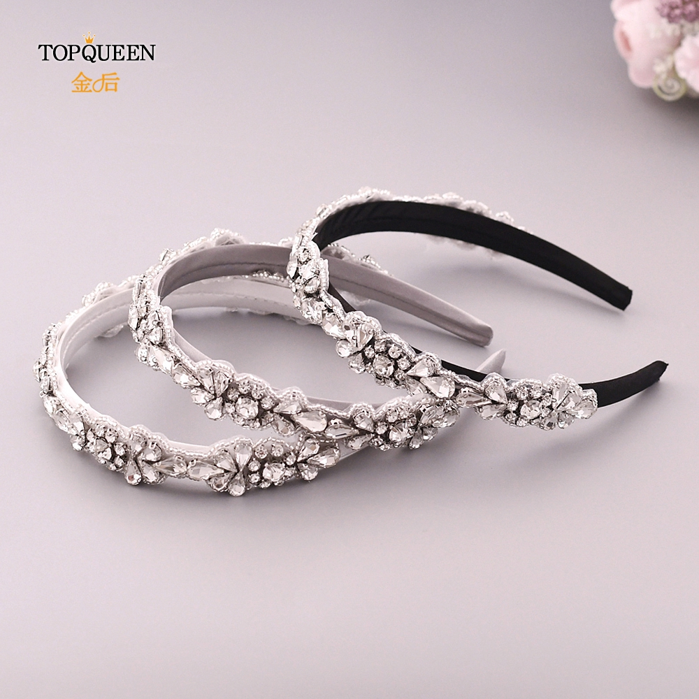 TOPQUEEN S235-FG Wedding Rhinestone Hair Accessories Bridal Tiara Headpieces Silver Rhinestone Headband Baroque Headband