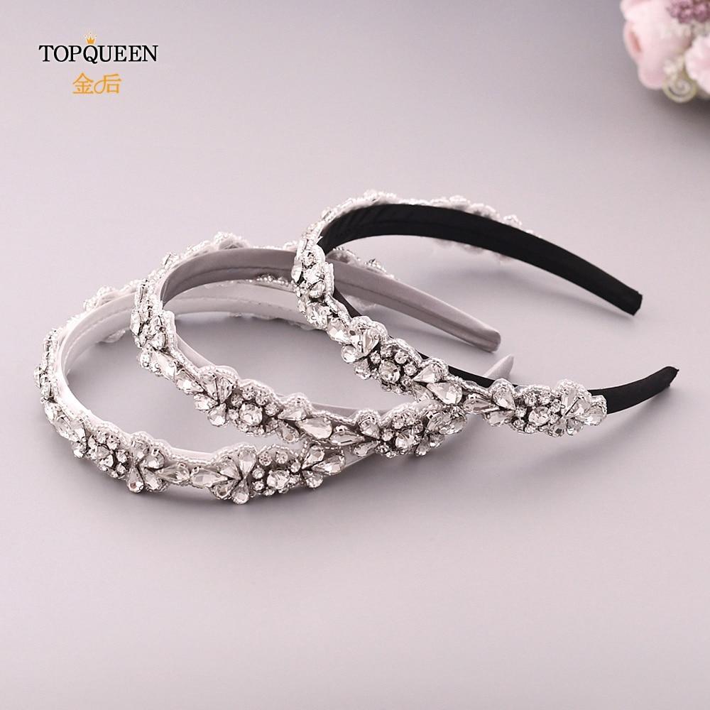 TOPQUEEN S235-FG Wedding Rhinestone Hair Accessories Bridal Tiara Headpieces Silver Rhinestone Headband Baroque Headband