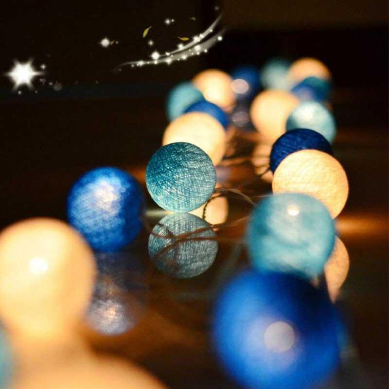 Light Balls Cotton Garland LED String Battery Novelty Night Lamp For Living Room Holiday Lighting Hanukkah Decorations Halloween