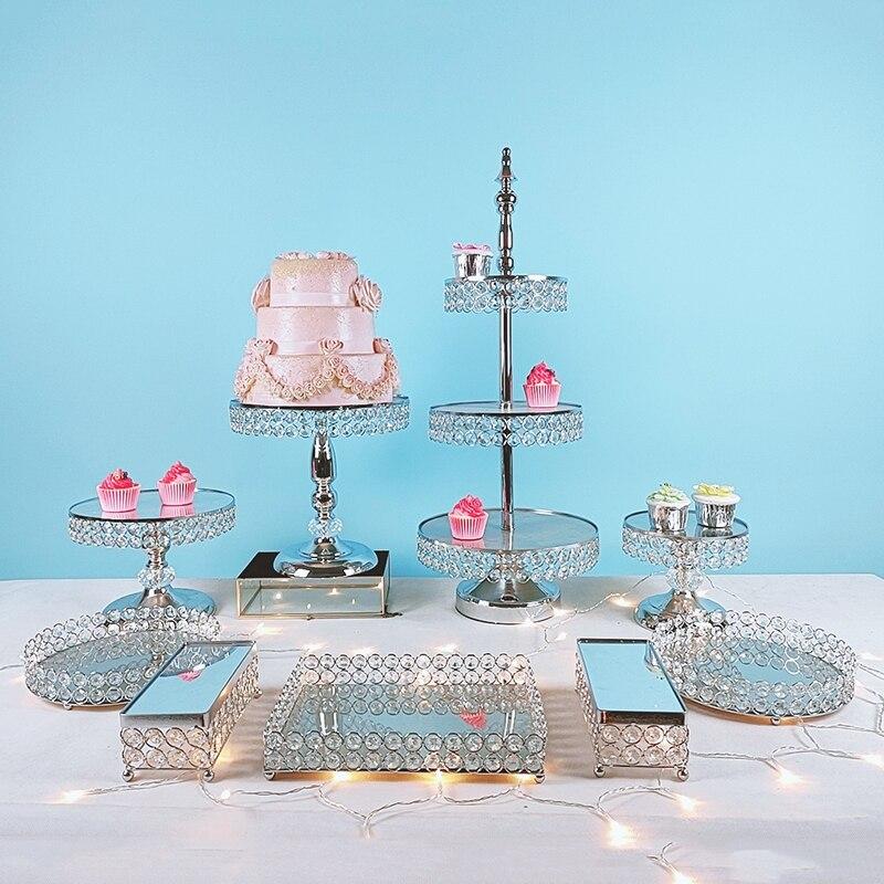 3pcs-15pcs Metal Electroplate  Mirror Cake Stand Set Display gold silver crystal cupcake plate